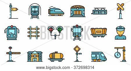 Railway Station Icons Set. Outline Set Of Railway Station Vector Icons Thin Line Color Flat On White