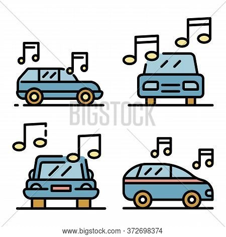 Car Audio Icons Set. Outline Set Of Car Audio Vector Icons Thin Line Color Flat On White