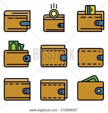 Wallet Icons Set. Outline Set Of Wallet Vector Icons Thin Line Color Flat On White