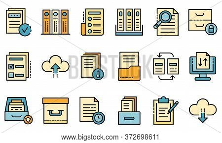Archive Icons Set. Outline Set Of Archive Vector Icons Thin Line Color Flat On White