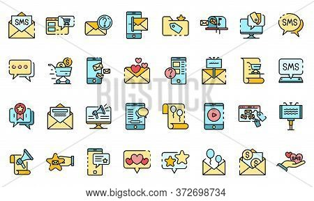 Sms Marketing Icons Set. Outline Set Of Sms Marketing Vector Icons Thin Line Color Flat On White