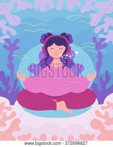 Underwater Meditation Of Teenager Girl. Young Woman Sits And Meditates In Lotus Yoga Pose For Best F