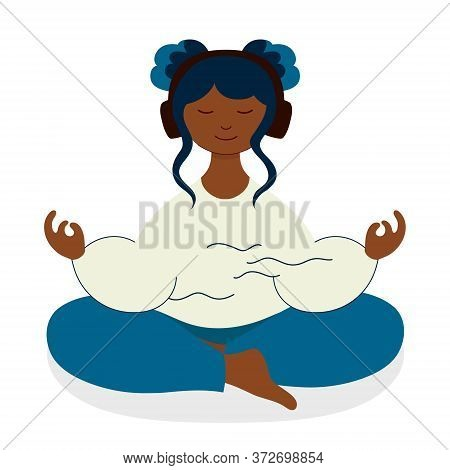 Audio Meditation Of Teenager Girl - Isolated Vector Illustration. Young Woman Meditates In Lotus Pos