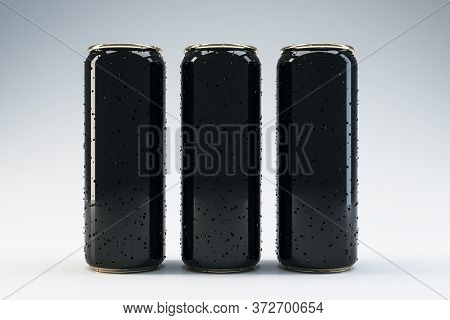 Front View Of Three Black Beverage Drink Cans With Water Drops.  Food And Drink Concept. Mock Up. 3d
