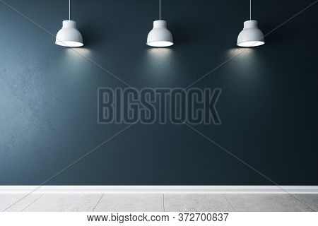 Minimalistic Gallery Interior With Three Ceiling Lamps And Blank Concrete Wall. Gallery Concept. Moc