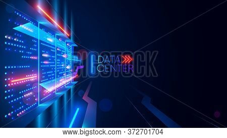 Data Center Or Digital Storage. Server Rack With Glowing Lights. Abstract Tech Background Of Cloud C