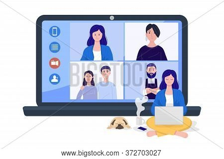 Video Conference Concept, A Woman Having Online Group Videoconference On Laptop