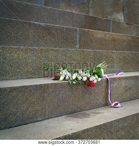 Flowers Commemorating The Suppression Of The Prague Spring At The Monument Of St. Wenceslas In Pragu
