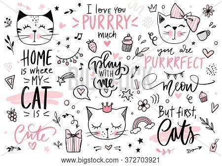 Doodle Cats Illustration And Kitten Quotes, Meow Lettering. Cute Vector Set With Funny Hipster Pets,