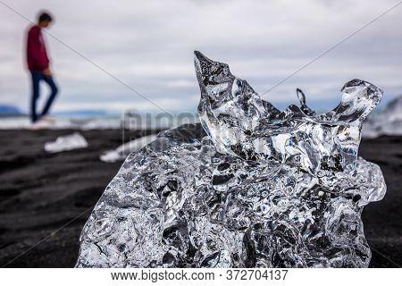 Eastern Region, Iceland - June 12, 2018: Small Ice Block On So Called Diamond Beach On The Atlantic