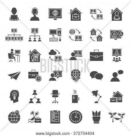 Remote Work Solid Web Icons. Vector Set Of Freelance Glyphs.