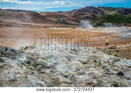 Hverir, Iceland - June 19, 2018: Aerial View Of Hverir Geothermal Area With Boiling Mudpools And Ste