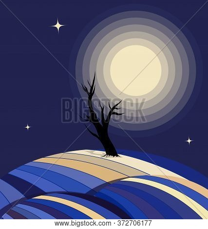 Blue Color Background Image Of The Abstract Lonely Tree