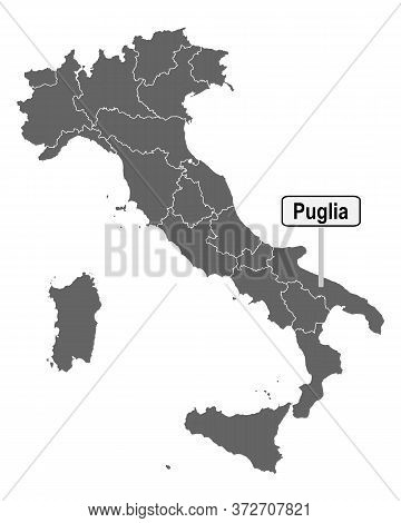 Detailed And Accurate Illustration Of Map Of Italy With Road Sign Of Puglia