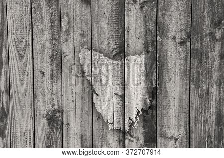 Detailed And Colorful Image Of Map Of Tasmania On Weathered Wood