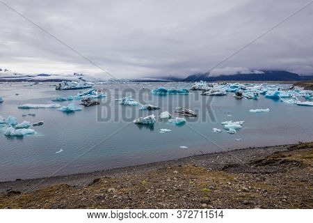 View On The Jokulsarlon - Literally Glacial River Lagoon, Large Glacial Lake In Iceland