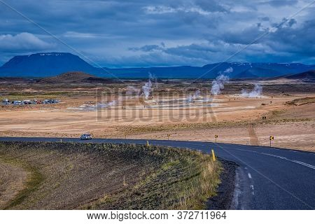 View From So Called Ring Road On Hverir Geothermal Area With Boiling Mudpools And Steaming Fumaroles