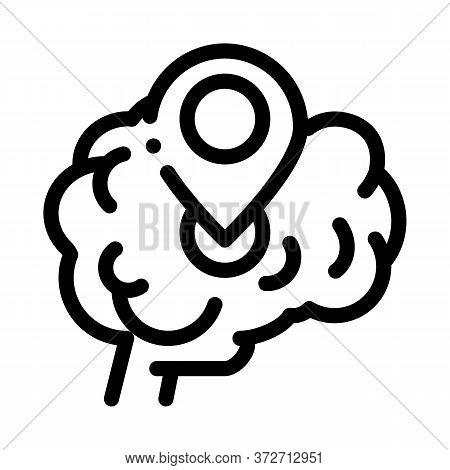 Dementia Brain Location Gps Sign Icon Vector. Dementia Brain Location Gps Sign Sign. Isolated Contou