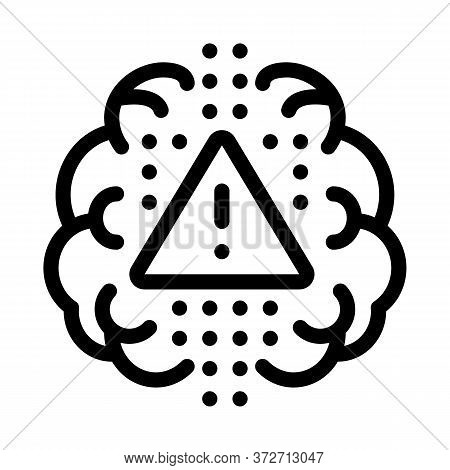 Brain Exclamation Mark Icon Vector. Brain Exclamation Mark Sign. Isolated Contour Symbol Illustratio