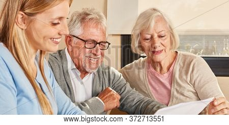 Daughter and seniors couple reading document on pension or pension