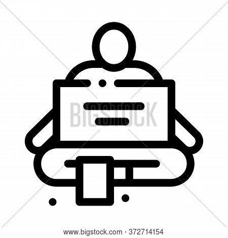 Homeless Sitting With Nameplate Help Icon Vector. Homeless Sitting With Nameplate Help Sign. Isolate