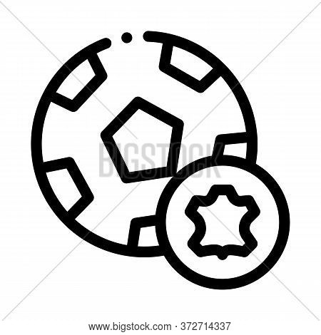 Leather Soccer Ball Icon Vector. Leather Soccer Ball Sign. Isolated Contour Symbol Illustration