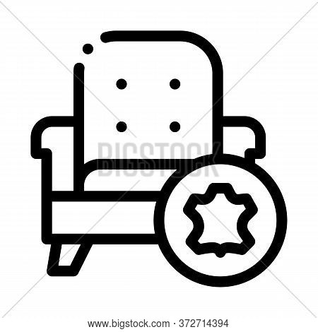 Leather Armchair Icon Vector. Leather Armchair Sign. Isolated Contour Symbol Illustration