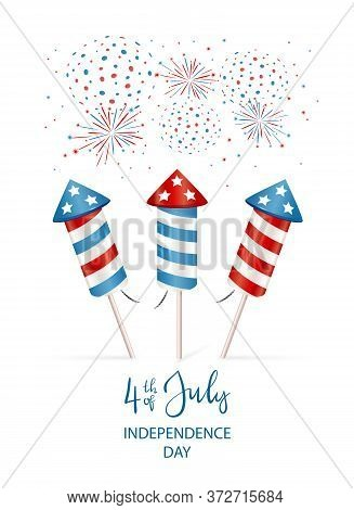 Text 4th Of July And Firework Rocket For Independence Day. Set Of Fireworks Isolated On White Backgr