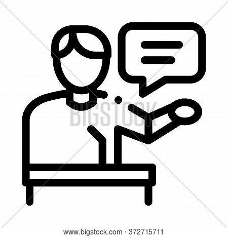 Seminar Speaker Icon Vector. Seminar Speaker Sign. Isolated Contour Symbol Illustration