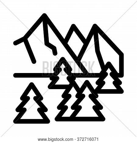 Snowy Mountain And Forest Nature Icon Vector. Snowy Mountain And Forest Nature Sign. Isolated Contou