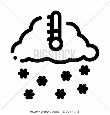 Winter Low Temperature And Snow Icon Vector. Winter Low Temperature And Snow Sign. Isolated Contour