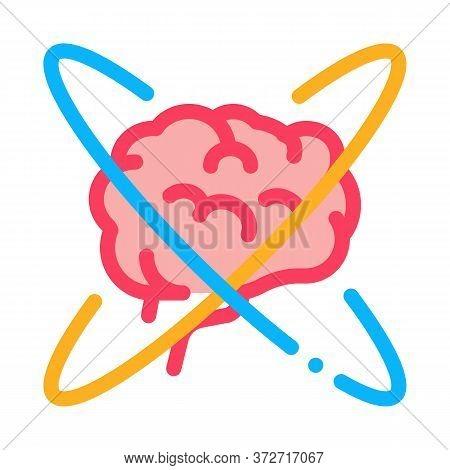 Brain In Center Of Atom Icon Vector. Brain In Center Of Atom Sign. Color Symbol Illustration