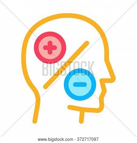 Human Head Plus Minus Icon Vector. Human Head Plus Minus Sign. Color Symbol Illustration