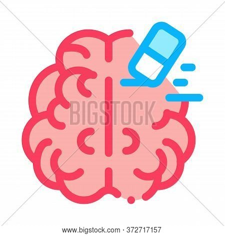 Brain Mind Erase Eraser Icon Vector. Brain Mind Erase Eraser Sign. Color Symbol Illustration