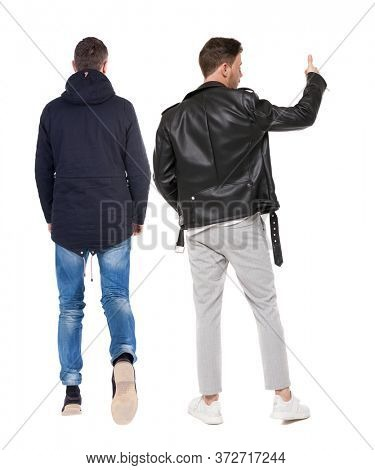 Back view of two man in winter jacket showing thumb up. Rear view people collection. backside view of person. Isolated over white background.
