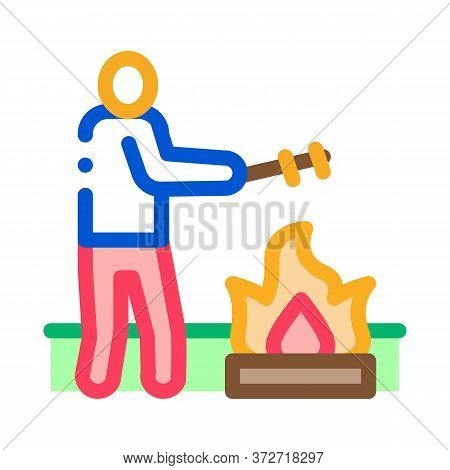 Human Cooking On Camp Fire Icon Vector. Human Cooking On Camp Fire Sign. Color Symbol Illustration