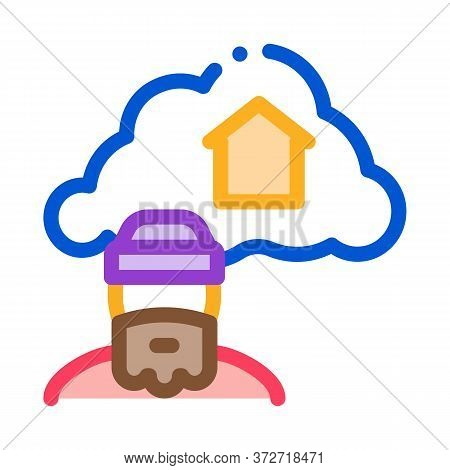 Homeless Dreaming About Home Icon Vector. Homeless Dreaming About Home Sign. Color Symbol Illustrati