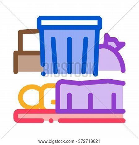 Homeless Sleeping Near Trash Can Icon Vector. Homeless Sleeping Near Trash Can Sign. Color Symbol Il