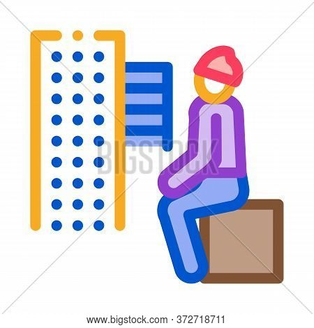 Homeless Sitting On Box In City Icon Vector. Homeless Sitting On Box In City Sign. Color Symbol Illu