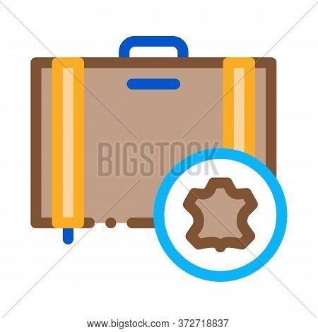 Leather Luggage Icon Vector. Leather Luggage Sign. Color Symbol Illustration