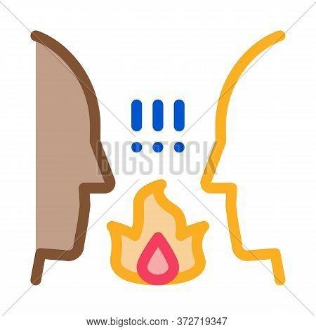 Interracial Conflict Icon Vector. Interracial Conflict Sign. Color Symbol Illustration
