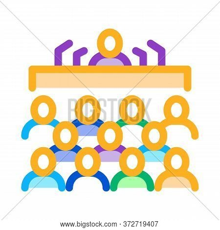 Press Conference Icon Vector. Press Conference Sign. Color Symbol Illustration