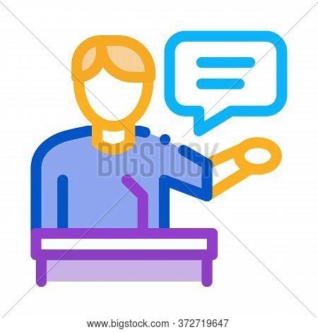 Seminar Speaker Icon Vector. Seminar Speaker Sign. Color Symbol Illustration