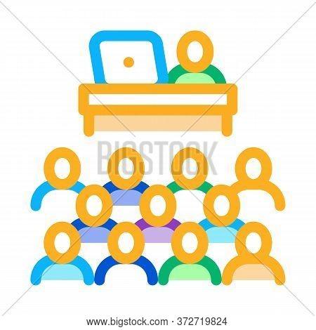 Seminar In Classroom Icon Vector. Seminar In Classroom Sign. Color Symbol Illustration