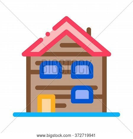 Ski Resort Cabin Building Icon Vector. Ski Resort Cabin Building Sign. Color Symbol Illustration