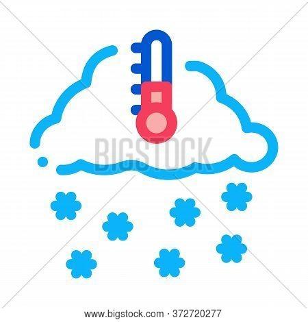 Winter Low Temperature And Snow Icon Vector. Winter Low Temperature And Snow Sign. Color Symbol Illu