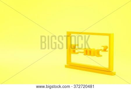 Yellow Math System Of Equation Solution On Chalkboard Icon Isolated On Yellow Background. E Equals M