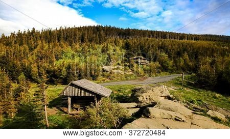 Wooden Tourist Shelter Near Paved Route In The Mountains, Obri Skaly, Jeseniky, Czech Republic.