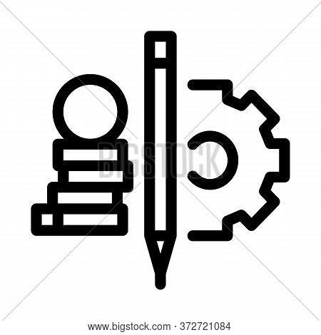 Coin Heap Pen And Mechanical Gear Icon Vector. Coin Heap Pen And Mechanical Gear Sign. Isolated Cont