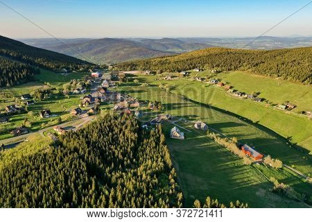 Mountain Hut In Colorful Forested Hilly Landscape, Pomezni Boudy, Krkonose, Czech Republic.